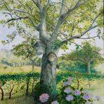 De oude zieke walnotenboom
